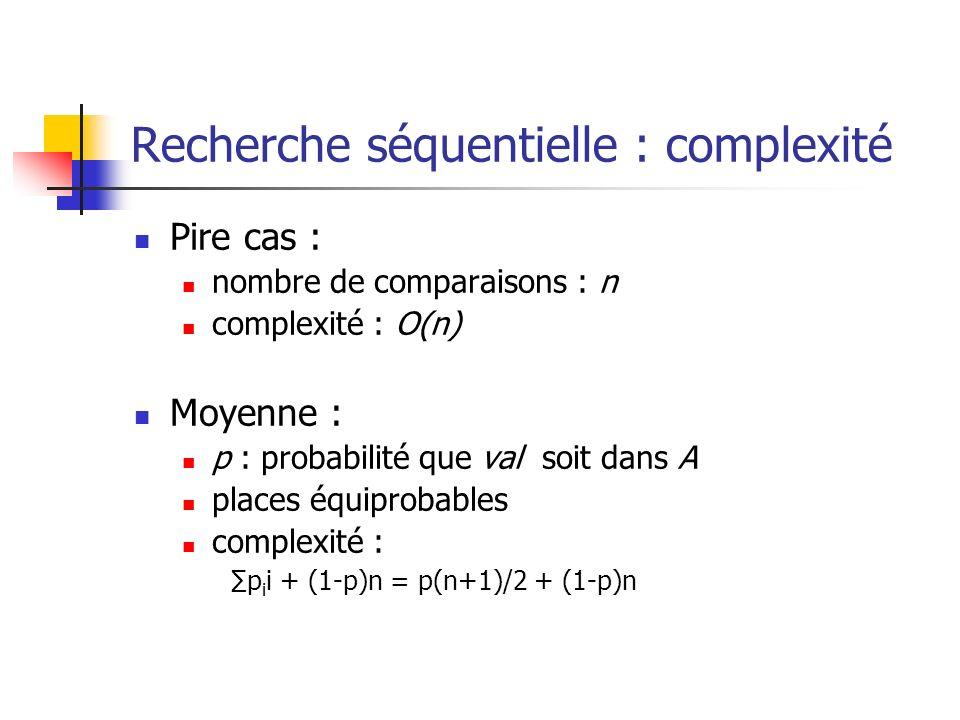 Recherche séquentielle : complexité Pire cas : nombre de comparaisons : n complexité : O(n) Moyenne : p : probabilité que val soit dans A places équip