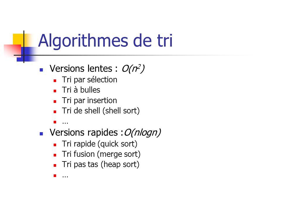 Algorithmes de tri Versions lentes : O(n 2 ) Tri par sélection Tri à bulles Tri par insertion Tri de shell (shell sort) … Versions rapides :O(nlogn) T