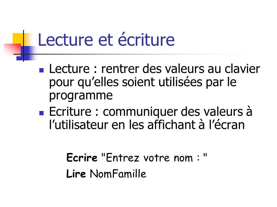 Exemple Procédure CalculCarrés (debut, fin : ENTIER) Variable nb : ENTIER nb debut Tantque nb <= fin Ecrire nb, nb*nb nb nb + 1 FinTantque FinProcédure