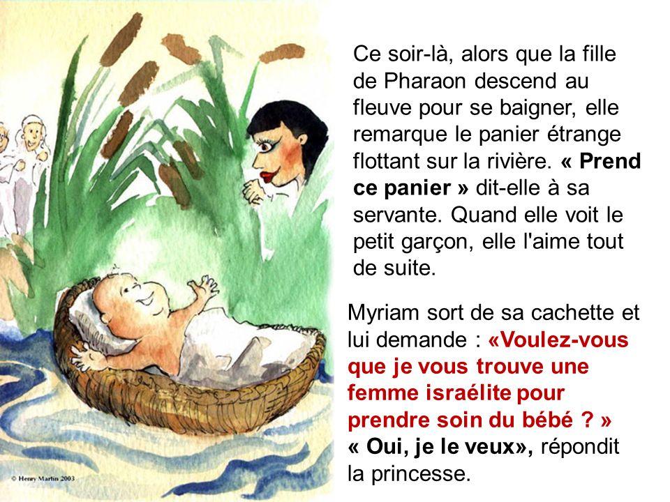 Ce soir-là, alors que la fille de Pharaon descend au fleuve pour se baigner, elle remarque le panier étrange flottant sur la rivière.