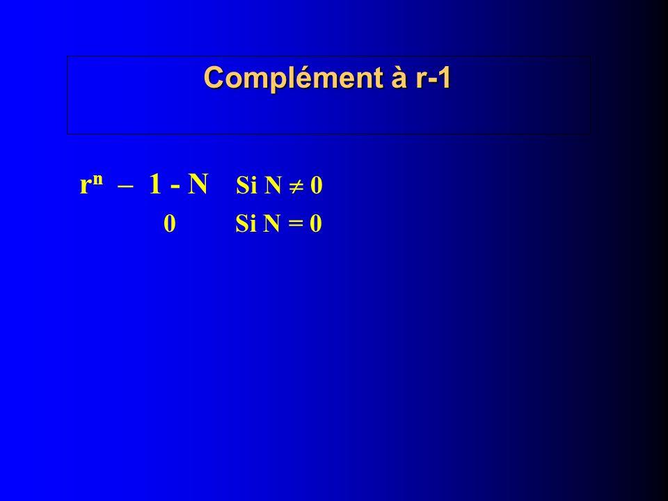 Complément à r-1 r n – 1 - N Si N 0 0 Si N = 0