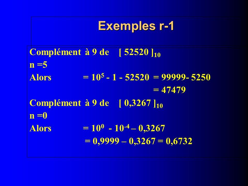 Exemples r-1 Complément à 9 de [ 52520 ] 10 n =5 Alors = 10 5 - 1 - 52520 = 99999- 5250 = 47479 Complément à 9 de [ 0,3267 ] 10 n =0 Alors = 10 0 - 10 -4 – 0,3267 = 0,9999 – 0,3267 = 0,6732
