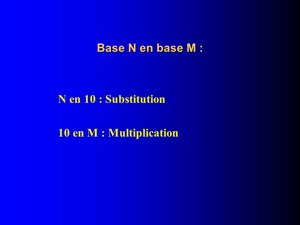 Base N en base M : N en 10 : Substitution 10 en M : Multiplication