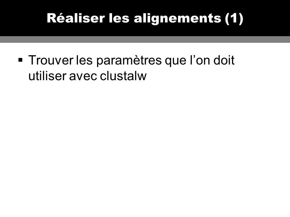 Réaliser les alignements (1) Trouver les paramètres que lon doit utiliser avec clustalw