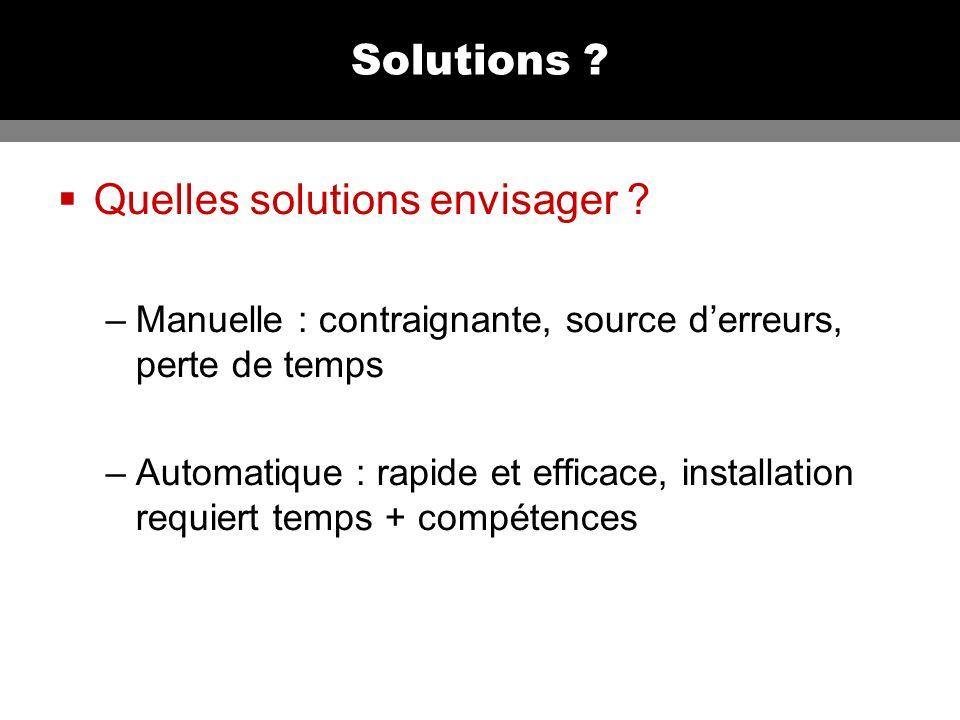 Solutions .Quelles solutions envisager .
