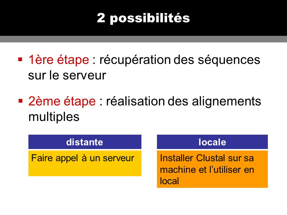 2 possibilités 1ère étape : récupération des séquences sur le serveur 2ème étape : réalisation des alignements multiples Faire appel à un serveurInstaller Clustal sur sa machine et lutiliser en local distantelocale