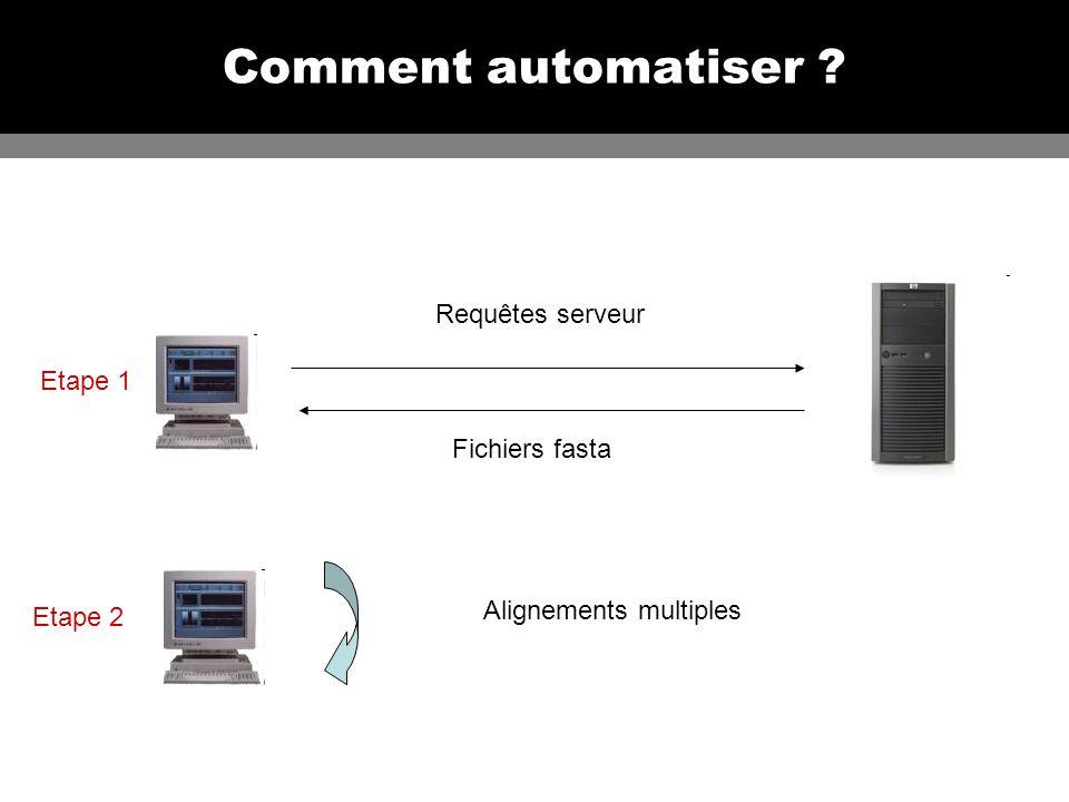 Comment automatiser ? Requêtes serveur Fichiers fasta Alignements multiples Etape 1 Etape 2