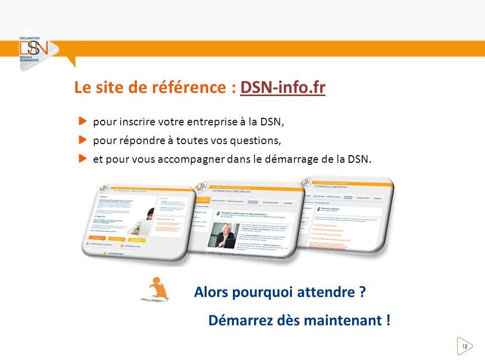 Le site de référence : DSN-info.frDSN-info.fr pour inscrire votre entreprise à la DSN, pour répondre à toutes vos questions, et pour vous accompagner