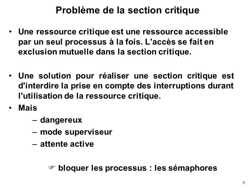 9 Problème de la section critique Une ressource critique est une ressource accessible par un seul processus à la fois. L'accès se fait en exclusion mu