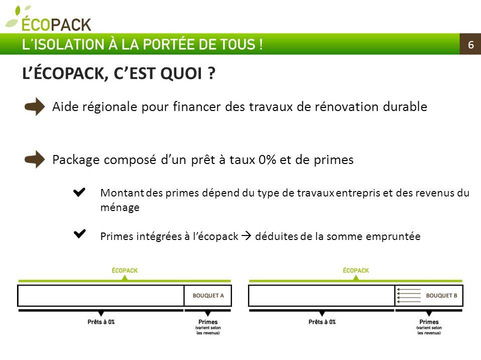 6 Aide régionale pour financer des travaux de rénovation durable Package composé dun prêt à taux 0% et de primes Montant des primes dépend du type de
