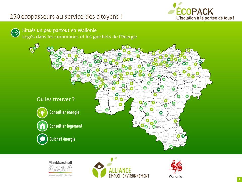 250 écopasseurs au service des citoyens ! Situés un peu partout en Wallonie Logés dans les communes et les guichets de lénergie 9