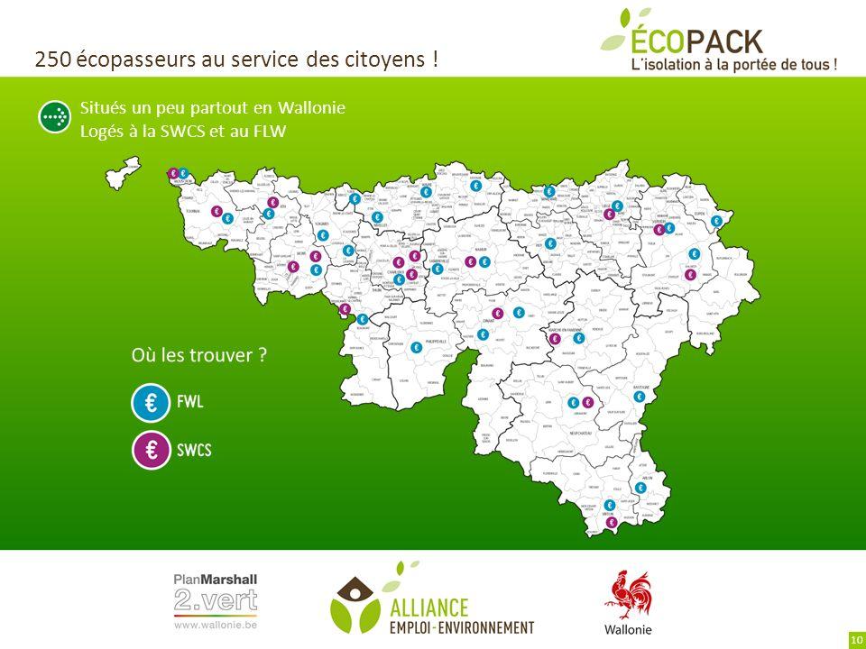Situés un peu partout en Wallonie Logés à la SWCS et au FLW 250 écopasseurs au service des citoyens ! 10