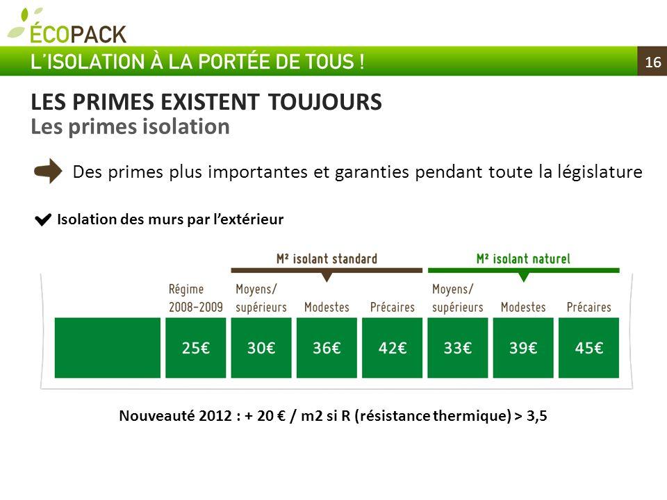 16 LES PRIMES EXISTENT TOUJOURS Les primes isolation Des primes plus importantes et garanties pendant toute la législature Nouveauté 2012 : + 20 / m2