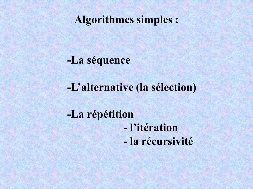 Algorithmes simples : -La séquence -Lalternative (la sélection) -La répétition - litération - la récursivité
