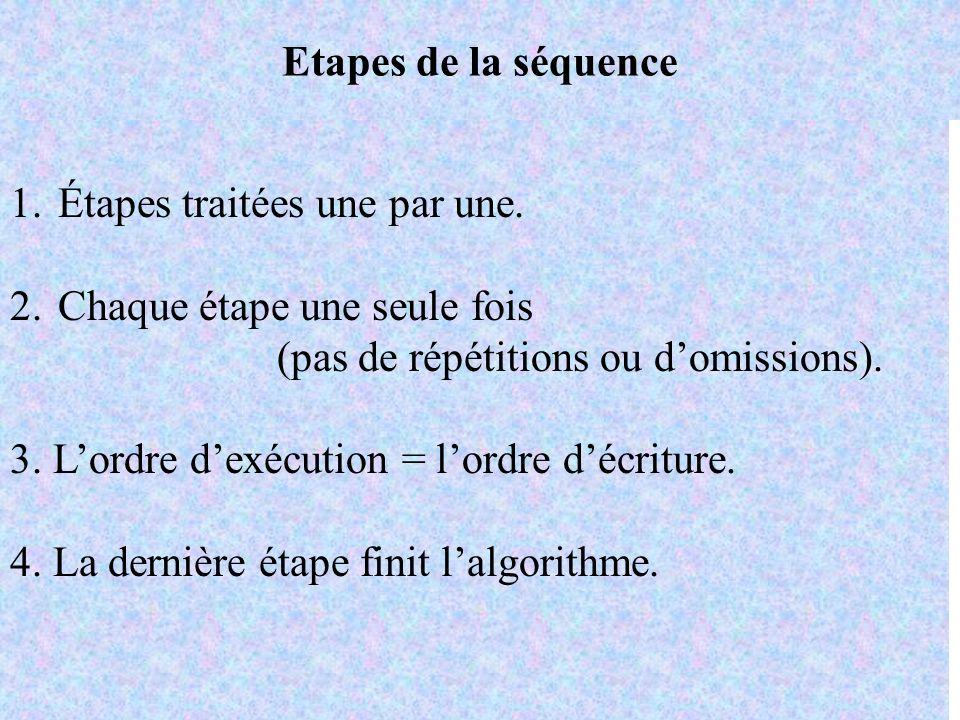 Etapes de la séquence 1.Étapes traitées une par une. 2.Chaque étape une seule fois (pas de répétitions ou domissions). 3. Lordre dexécution = lordre d