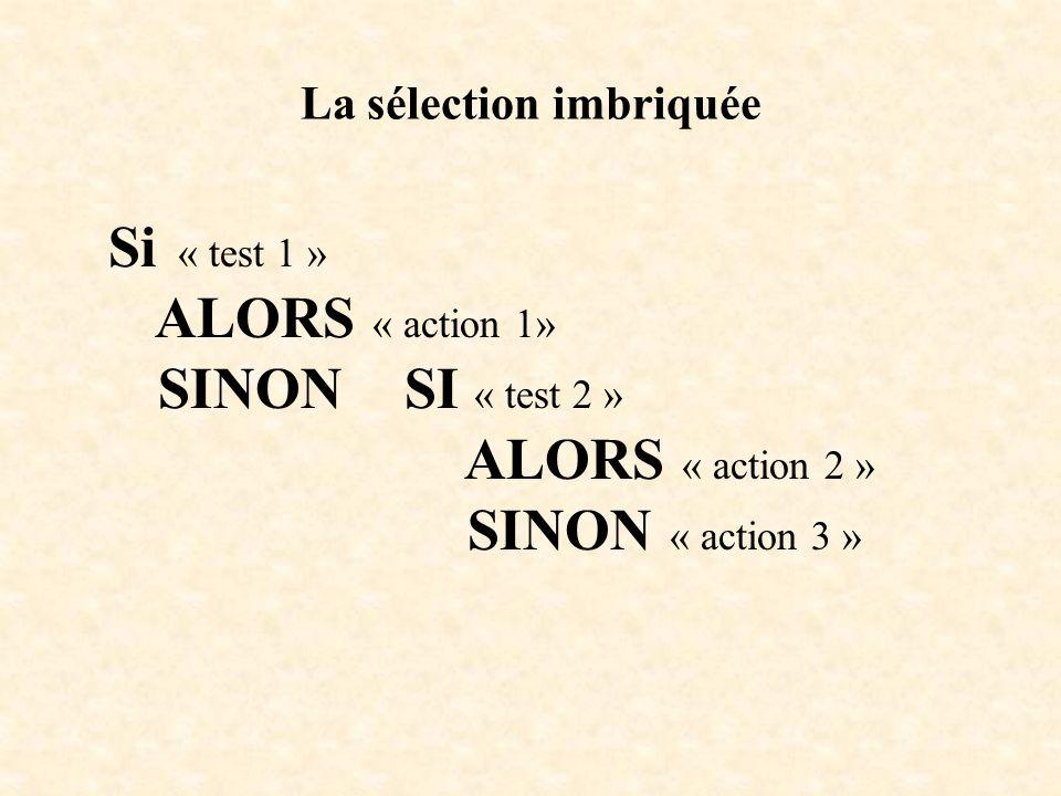 La sélection imbriquée Si « test 1 » ALORS « action 1» SINON SI « test 2 » ALORS « action 2 » SINON « action 3 »
