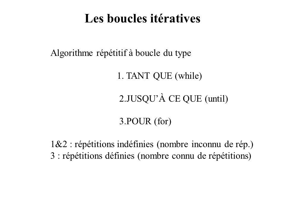 Les boucles itératives Algorithme répétitif à boucle du type 1. TANT QUE (while) 2.JUSQUÀ CE QUE (until) 3.POUR (for) 1&2 : répétitions indéfinies (no