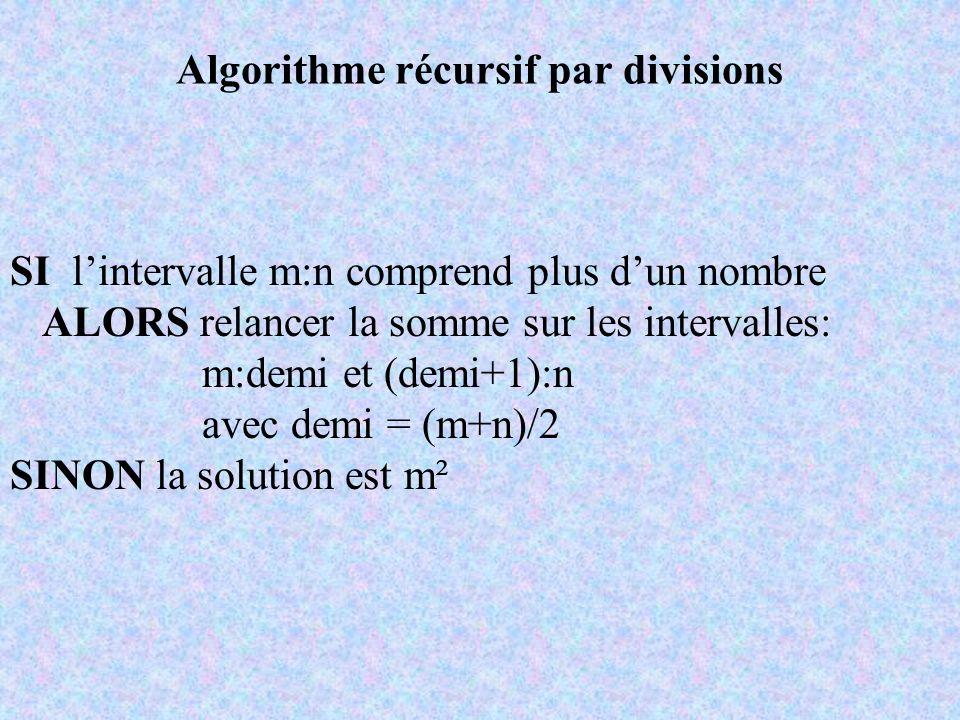 Algorithme récursif par divisions SI lintervalle m:n comprend plus dun nombre ALORS relancer la somme sur les intervalles: m:demi et (demi+1):n avec d