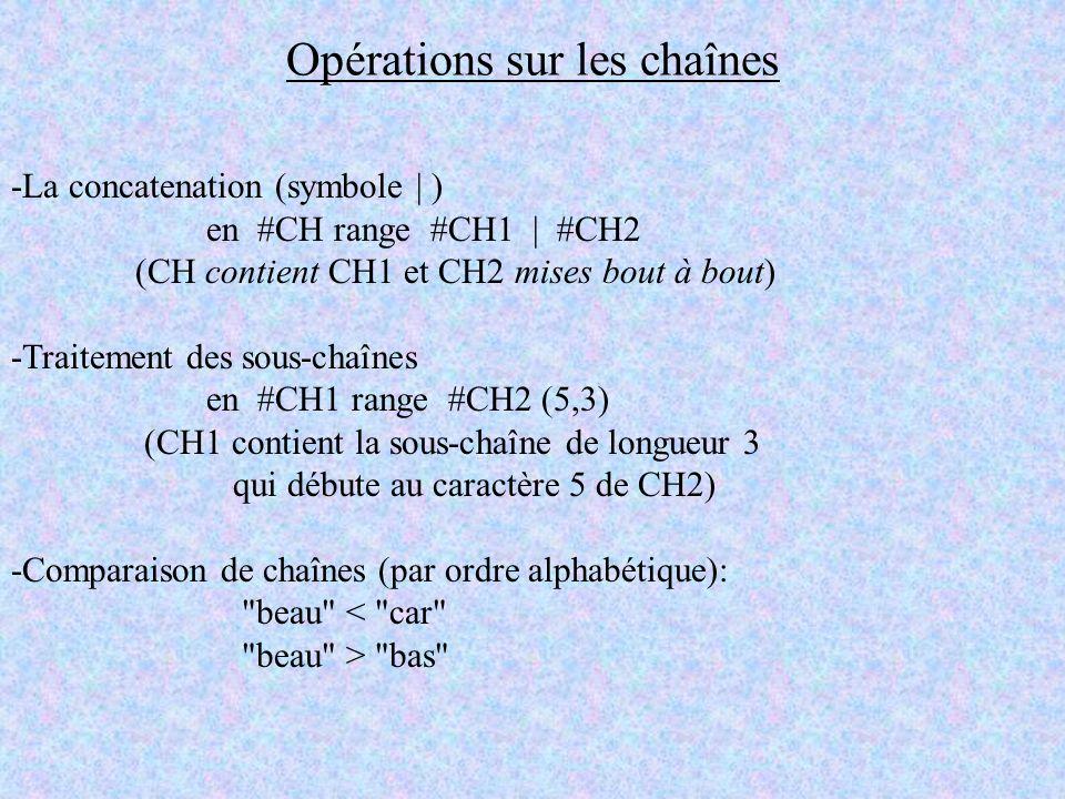 Opérations sur les chaînes -La concatenation (symbole | ) en #CH range #CH1 | #CH2 (CH contient CH1 et CH2 mises bout à bout) -Traitement des sous-cha