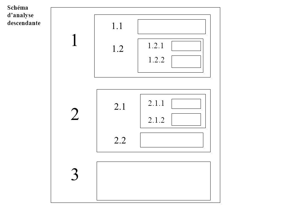 Schéma danalyse descendante 1 2 3 1.2.1 1.2.2 1.1 1.2 2.1 2.2 2.1.1 2.1.2