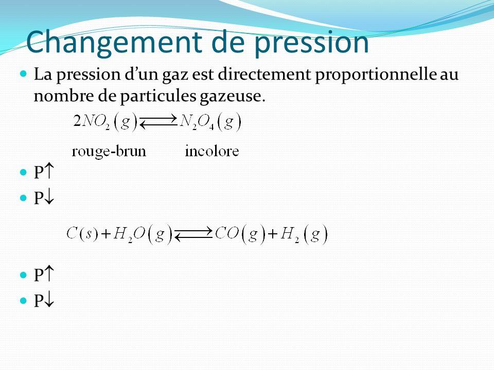 Changement de pression La pression dun gaz est directement proportionnelle au nombre de particules gazeuse. P
