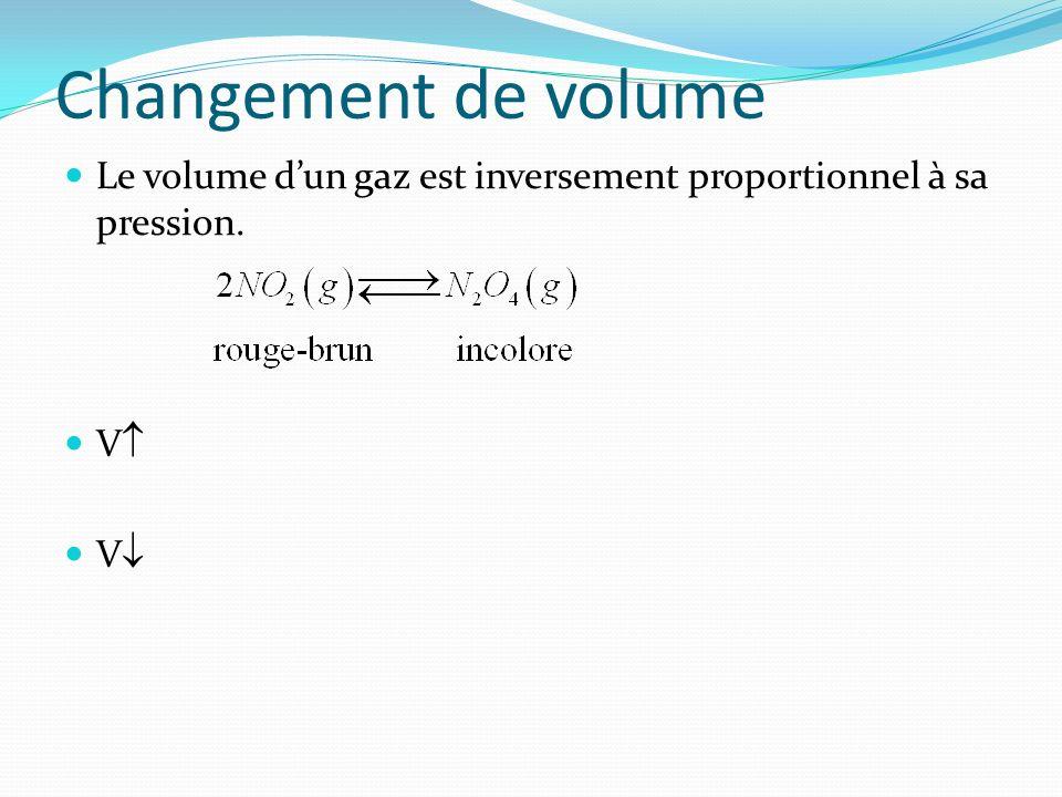 Changement de volume Le volume dun gaz est inversement proportionnel à sa pression. V