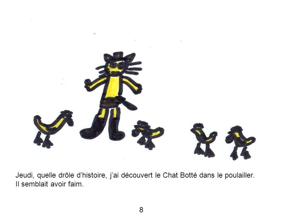 Jeudi, quelle drôle dhistoire, jai découvert le Chat Botté dans le poulailler. Il semblait avoir faim. 8