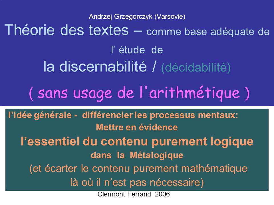 Motivation de la Définition inductive La Motivation est la continuation de: Quines characterization of computability.