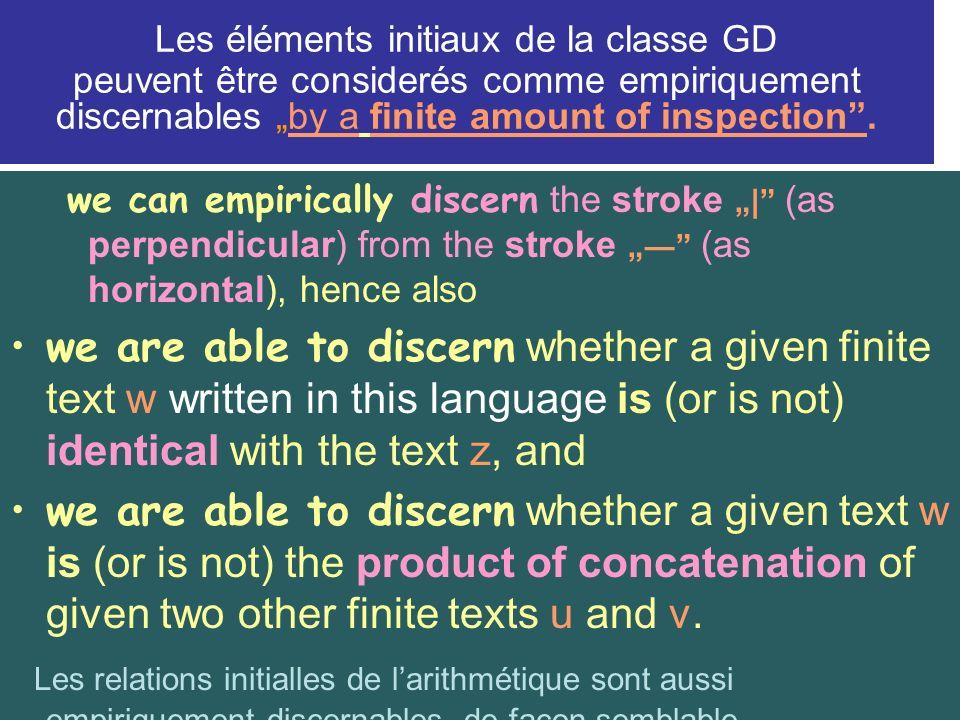 Les éléments initiaux de la classe GD peuvent être considerés comme empiriquement discernables by a finite amount of inspection.