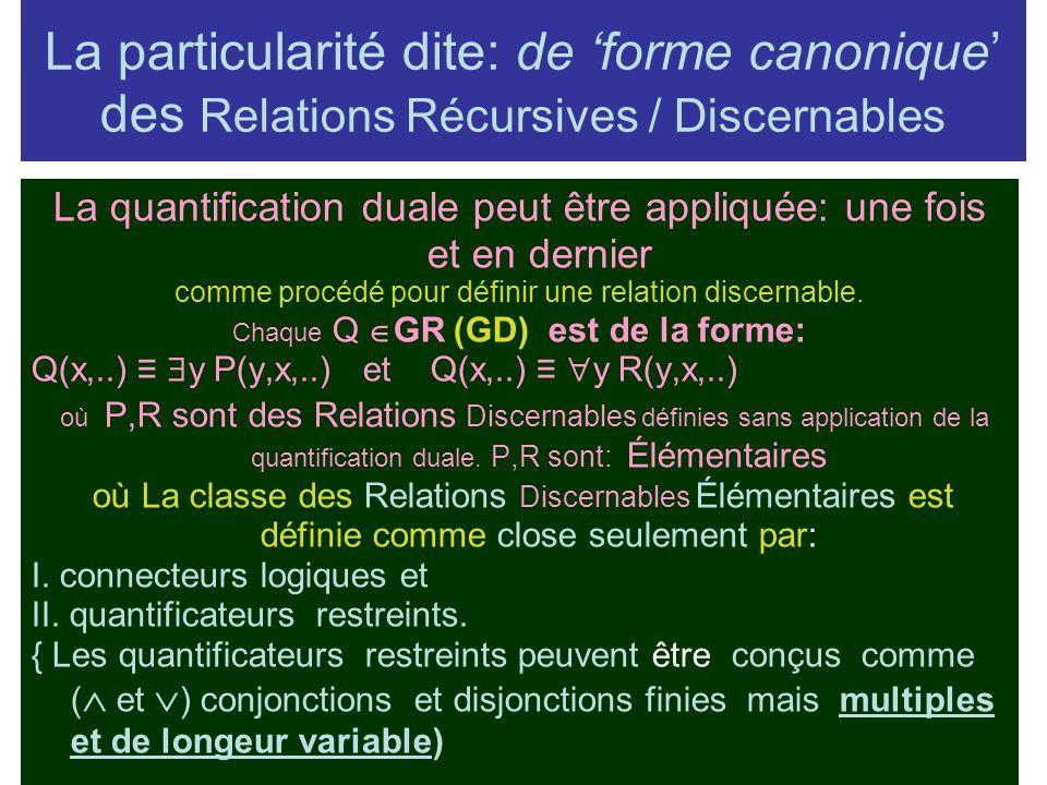 La particularité dite: de forme canonique des Relations Récursives / Discernables La quantification duale peut être appliquée: une fois et en dernier comme procédé pour définir une relation discernable.