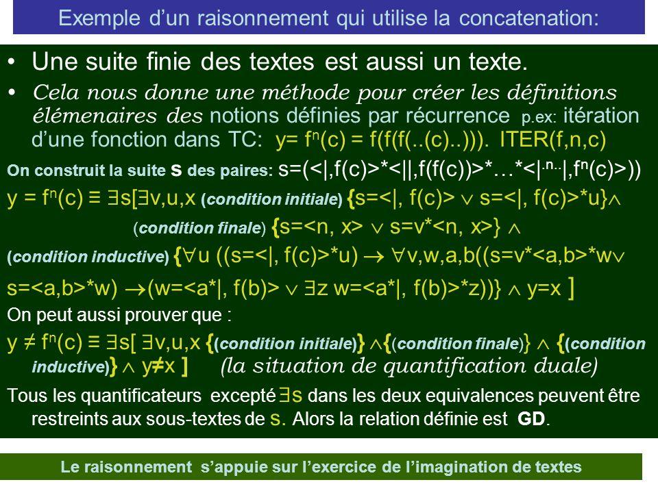 Exemple dun raisonnement qui utilise la concatenation: Une suite finie des textes est aussi un texte.