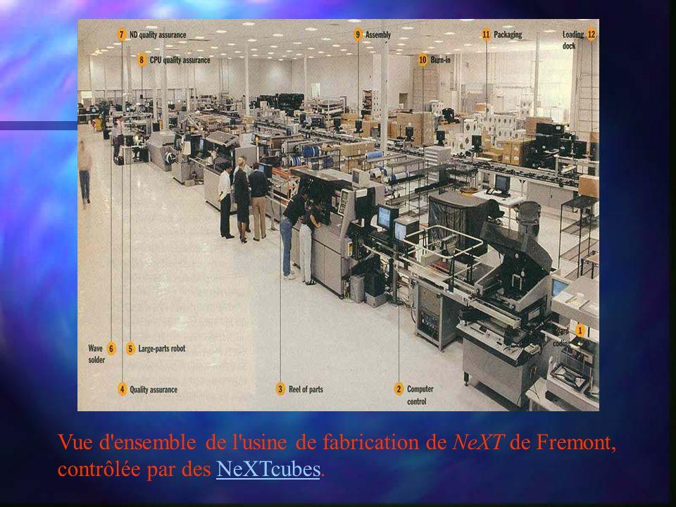 Vue d ensemble de l usine de fabrication de NeXT de Fremont, contrôlée par des NeXTcubes.NeXTcubes