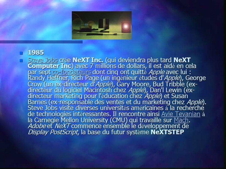 n 1986 NeXT travaille à la mise au point du NeXTcube et de NeXTSTEP.