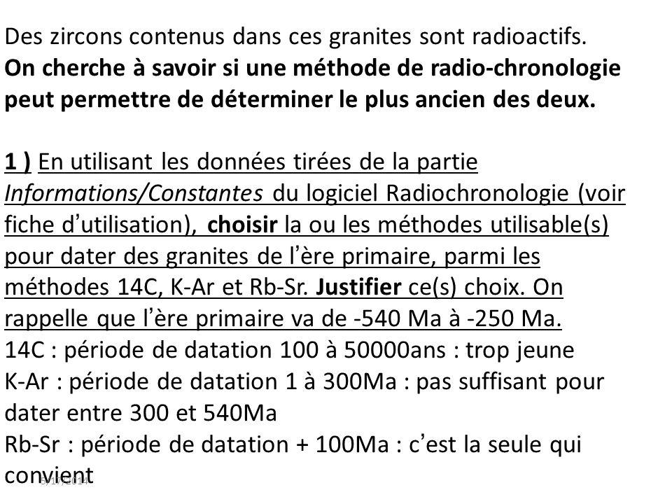 Des zircons contenus dans ces granites sont radioactifs. On cherche à savoir si une méthode de radio-chronologie peut permettre de déterminer le plus