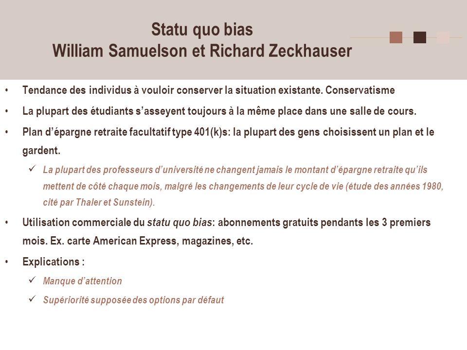 10 Statu quo bias William Samuelson et Richard Zeckhauser Tendance des individus à vouloir conserver la situation existante. Conservatisme La plupart