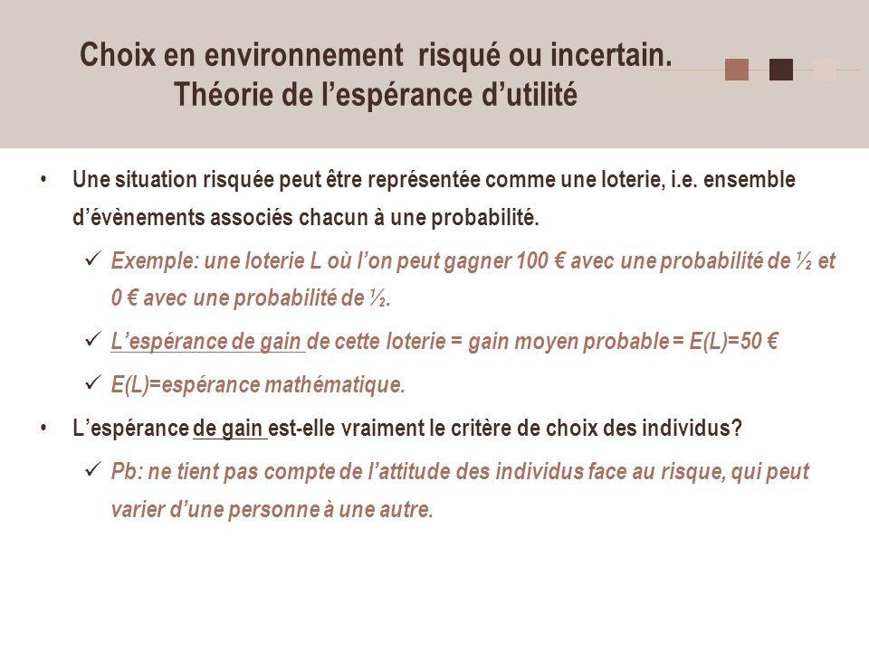 12 Choix en environnement risqué ou incertain. Théorie de lespérance dutilité Une situation risquée peut être représentée comme une loterie, i.e. ense