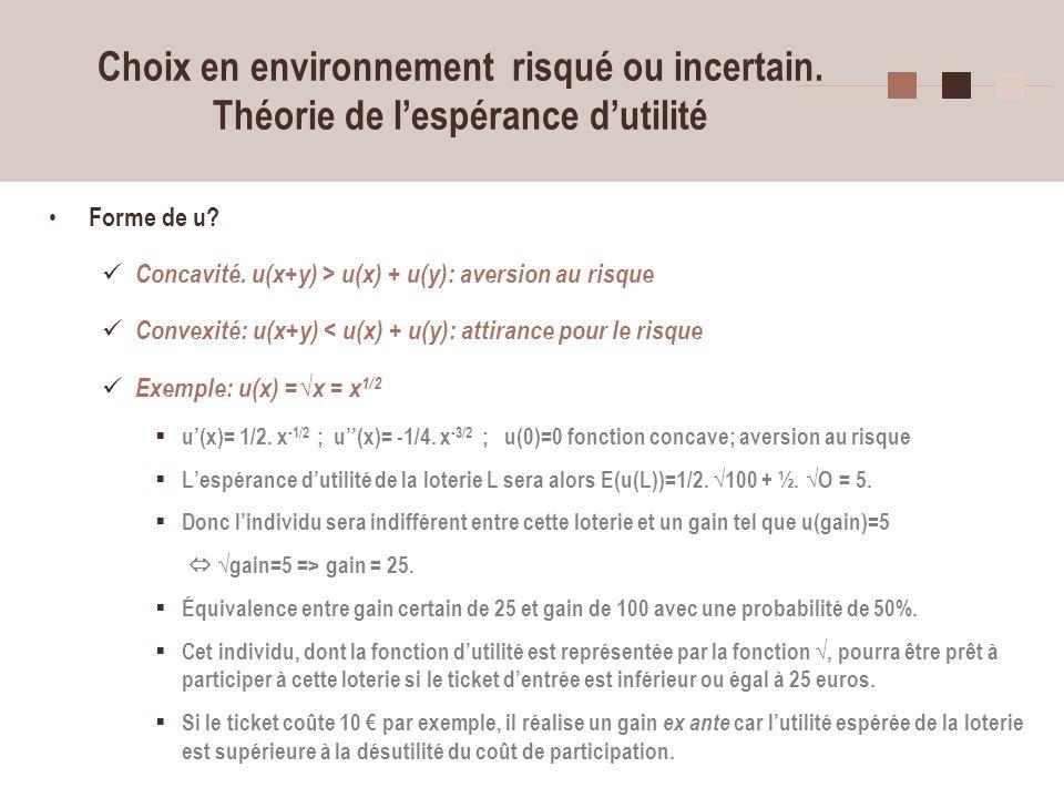 14 Choix en environnement risqué ou incertain. Théorie de lespérance dutilité Forme de u? Concavité. u(x+y) > u(x) + u(y): aversion au risque Convexit
