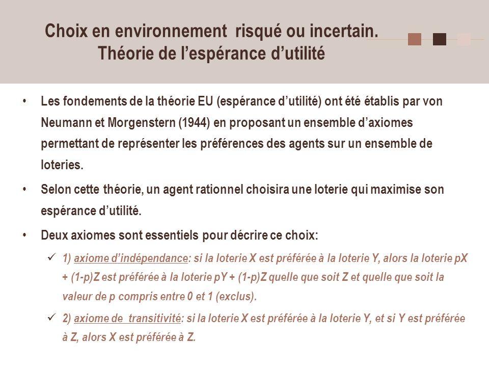 15 Choix en environnement risqué ou incertain. Théorie de lespérance dutilité Les fondements de la théorie EU (espérance dutilité) ont été établis par