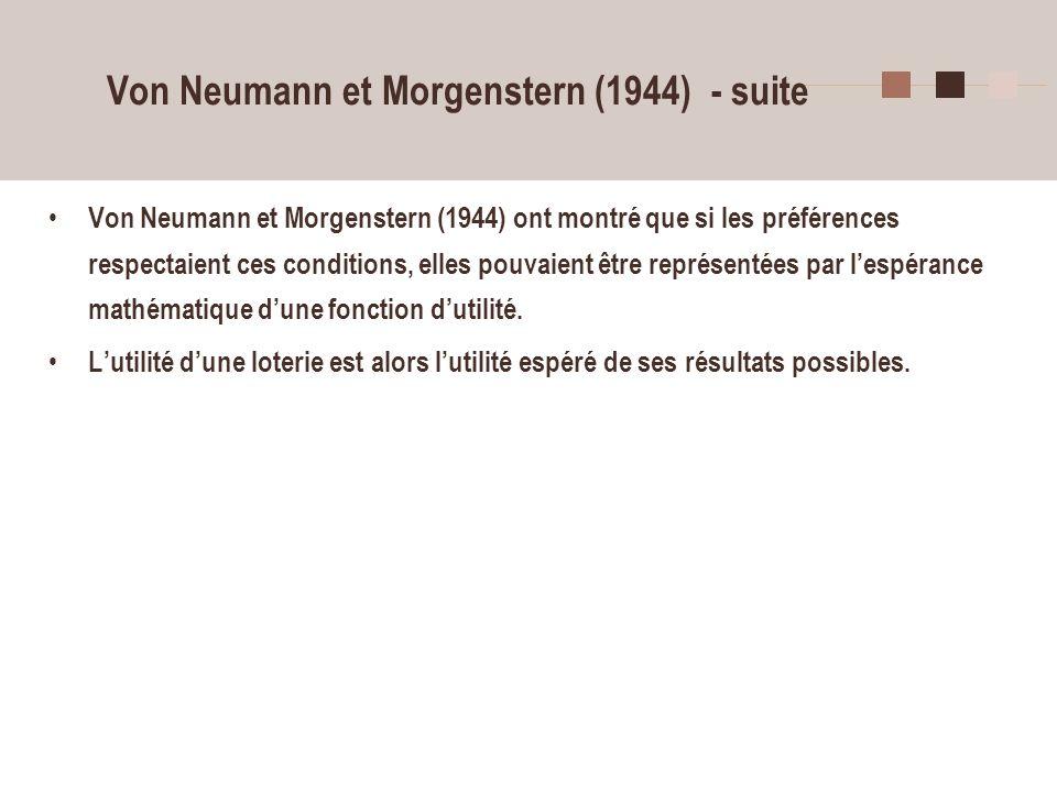 16 Von Neumann et Morgenstern (1944) - suite Von Neumann et Morgenstern (1944) ont montré que si les préférences respectaient ces conditions, elles po