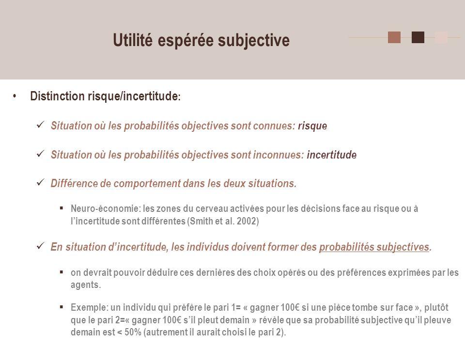 24 Utilité espérée subjective Distinction risque/incertitude : Situation où les probabilités objectives sont connues: risque Situation où les probabil