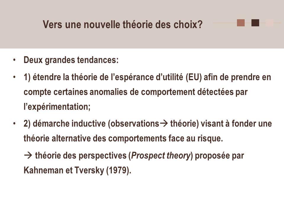 28 Vers une nouvelle théorie des choix? Deux grandes tendances: 1) étendre la théorie de lespérance dutilité (EU) afin de prendre en compte certaines