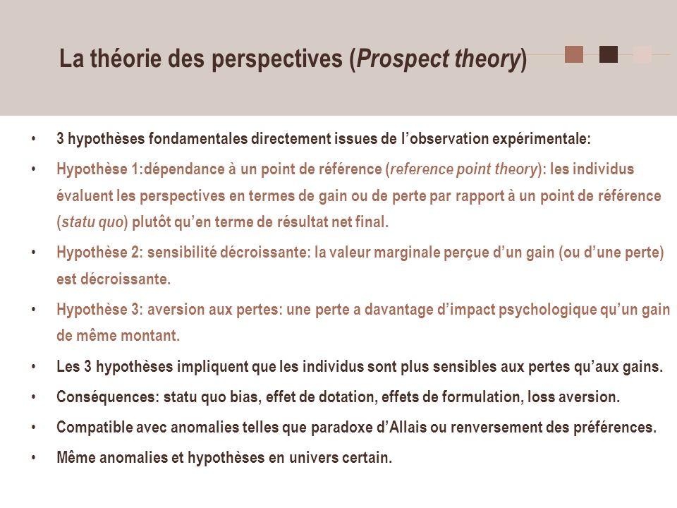 29 La théorie des perspectives ( Prospect theory ) 3 hypothèses fondamentales directement issues de lobservation expérimentale: Hypothèse 1:dépendance