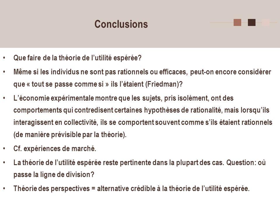 33 Conclusions Que faire de la théorie de lutilité espérée? Même si les individus ne sont pas rationnels ou efficaces, peut-on encore considérer que «