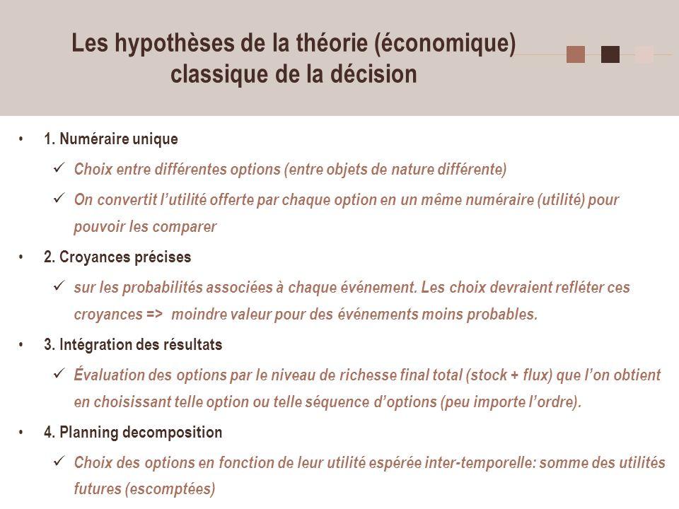 4 Les hypothèses de la théorie (économique) classique de la décision 1. Numéraire unique Choix entre différentes options (entre objets de nature diffé