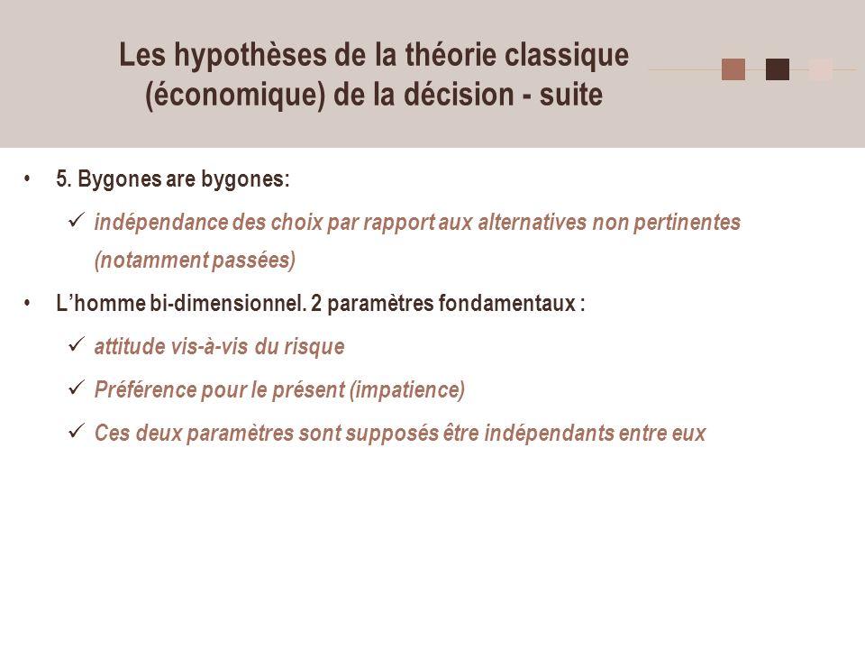 5 Les hypothèses de la théorie classique (économique) de la décision - suite 5. Bygones are bygones: indépendance des choix par rapport aux alternativ