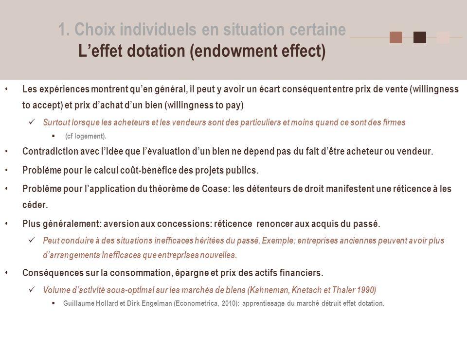 8 1. Choix individuels en situation certaine Leffet dotation (endowment effect) Les expériences montrent quen général, il peut y avoir un écart conséq