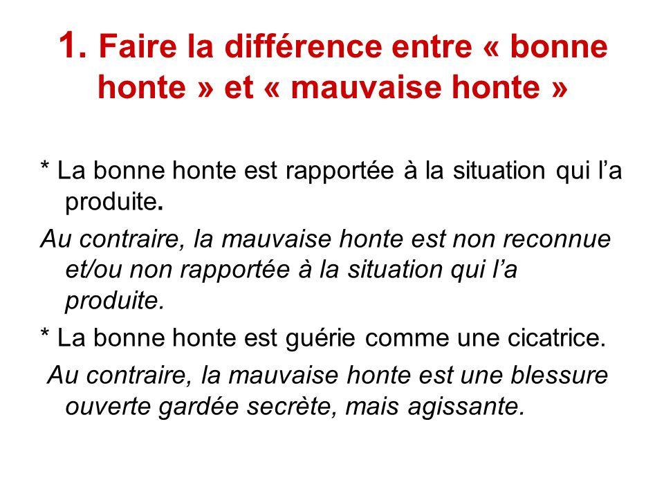 1. Faire la différence entre « bonne honte » et « mauvaise honte » * La bonne honte est rapportée à la situation qui la produite. Au contraire, la mau