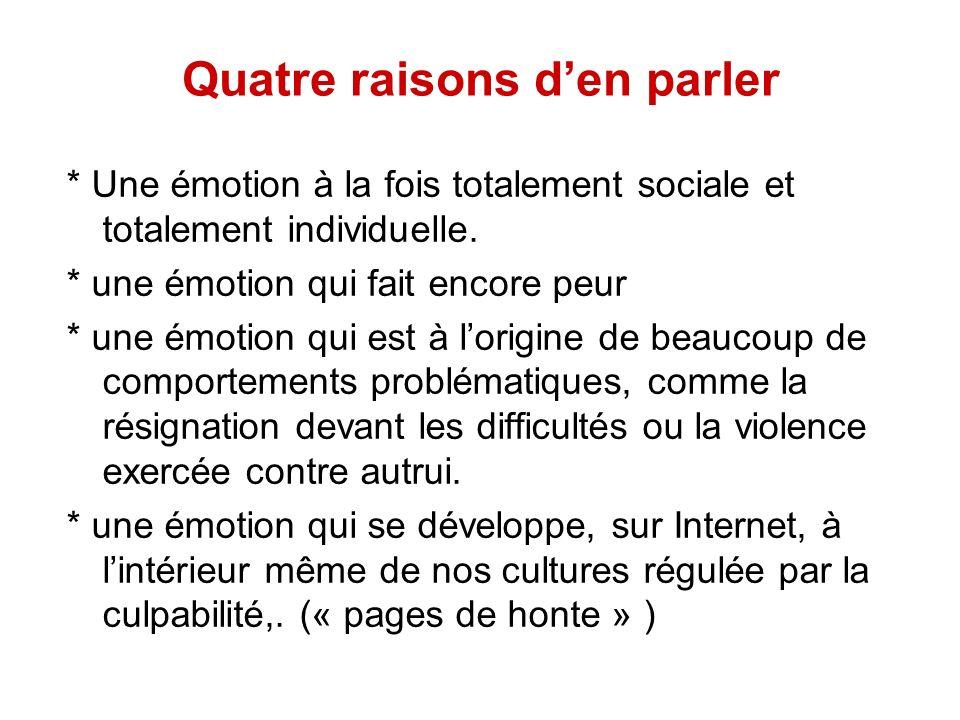 Quatre raisons den parler * Une émotion à la fois totalement sociale et totalement individuelle. * une émotion qui fait encore peur * une émotion qui