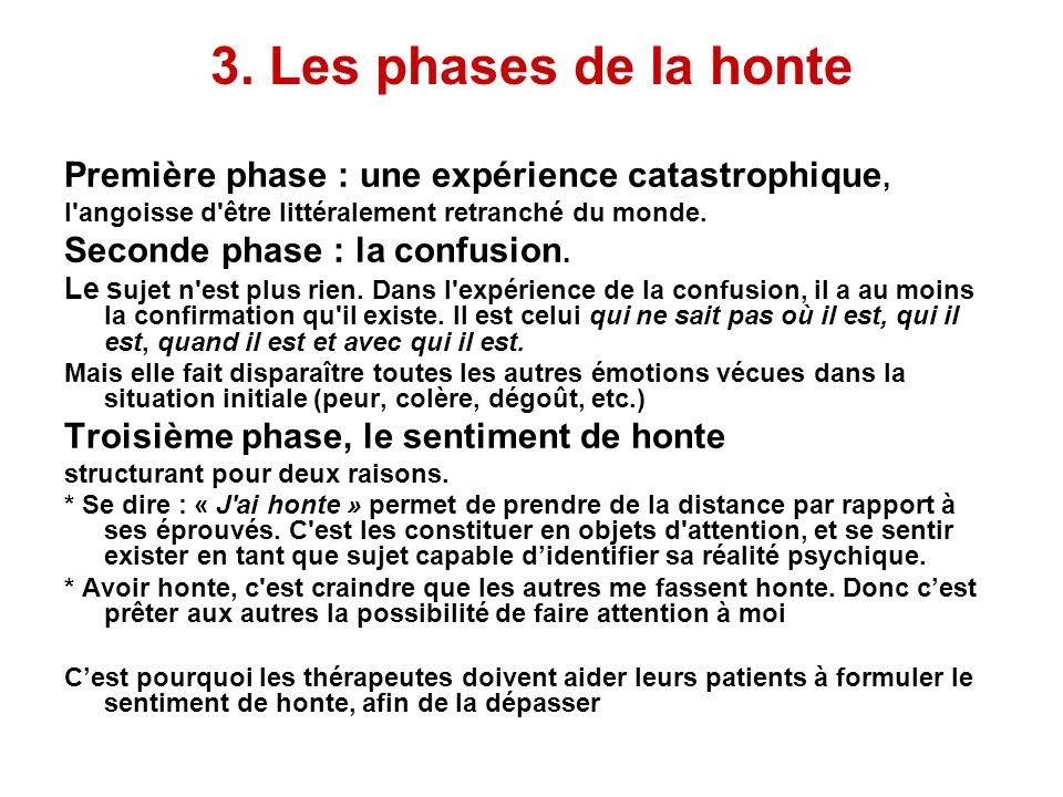 3. Les phases de la honte Première phase : une expérience catastrophique, l'angoisse d'être littéralement retranché du monde. Seconde phase : la confu