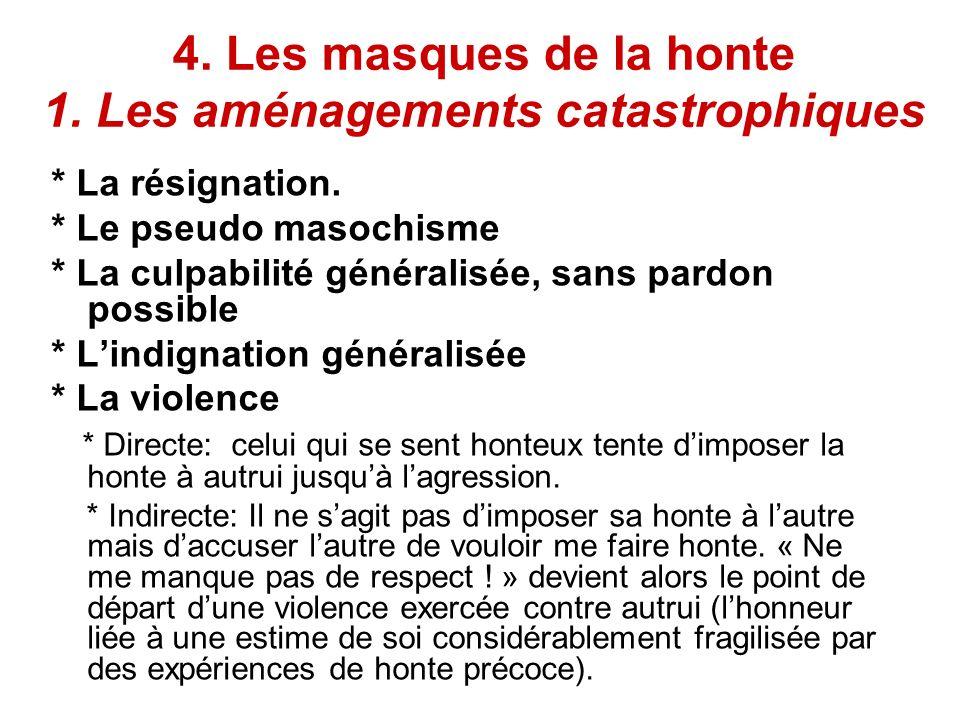 4. Les masques de la honte 1. Les aménagements catastrophiques * La résignation. * Le pseudo masochisme * La culpabilité généralisée, sans pardon poss
